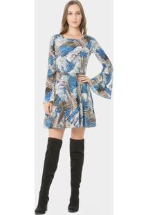 Vestido Manga Longa Estampado Ondas Orientais - Lez A Lez