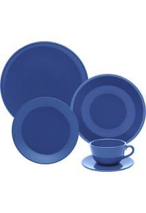 Aparelho De Jantar/Chá 30 Peças Oxford Unni Cerâmica Azul