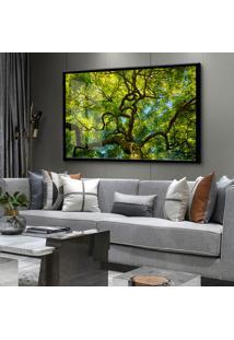 Quadro 60X90Cm Zerura Árvore Folhagem Verde Moldura E Vidro Cristal