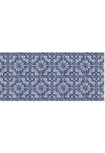 Tapete Transfer Arabescos- Azul Escuro & Branco- 90Xtapetes Junior