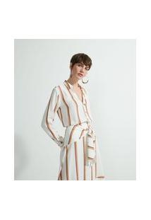 Camisa Manga Longa Em Viscolinho Estampa Listras | Marfinno | Branco | Pp