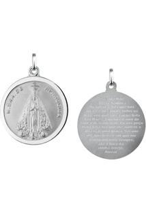 Pingente Nossa Senhora De Aparecida Redonda Em Prata 925 - Unissex
