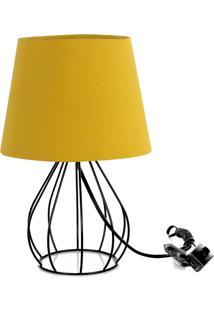 Abajur Cebola Dome Amarelo Mostarda Com Aramado Preto