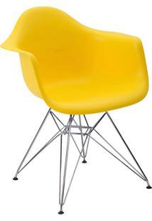Cadeira Com Braço Pp Base Cromada Eiffel -Rivatti - Amarelo