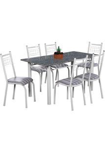 Conjunto De Mesa Com 6 Cadeiras Lisboa Branco Liso E Preto Listrado