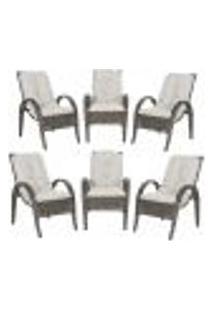 Cadeiras 6Un P/ Jardim Lazer Edicula Varanda Descanso Fibra E Tramas Napoli Plus Pedra Ferro A12