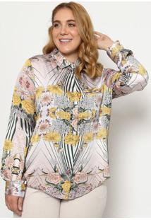 Camisa Acetinada Com Botãµes - Bege & Verde - Cotton Cotton Colors Extra