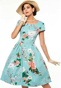 Vestido Midi Retrô Audrey Manga Curta