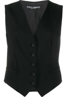 Dolce & Gabbana Colete Slim Abotoamento Único - Preto