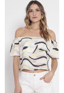 Blusa Ciganinha Com Sobreposição- Off White & Amarelo Clguess
