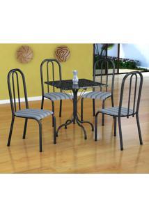 Conjunto De Mesa Malaga Com 4 Cadeiras Madri Preto Prata E Preto Listrado