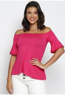Blusa Ciganinha Com Renda- Pink- Thiptonthipton