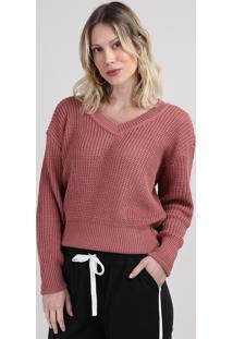 Suéter De Tricô Feminino Amplo Decote V Rosa Escuro