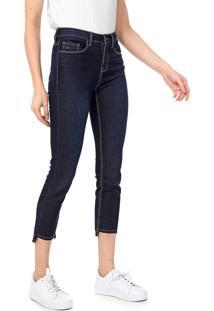 Calça Jeans Calvin Klein Slim Pespontos Azul-Marinho