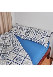 Jogo De Cama King Trevalla Aconchego Algodão 3 Peças Azul Royal