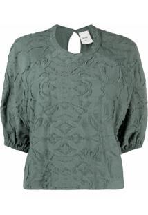 Alysi Blusa Texturizada Com Mangas Bufantes - Verde