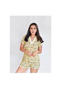 Pijama Adulto Feminino Liganete Curto Short Doll Amarelo Varal