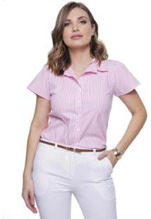 Camisa Sob Manga Curta Listrada Algodão Feminina - Feminino-Rosa