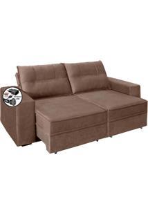 Sofa 2 Lugares Retratil Reclinavel Versatile 2,00 M Com Usb Suede Bege