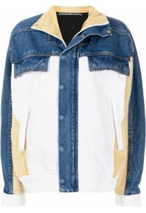 Alexander Wang Jaqueta Jeans Color Block - Azul