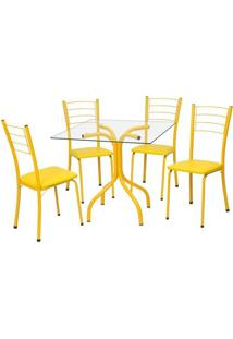 Conjunto De Mesa Com 4 Cadeiras Mira Corino Amarelo - Única