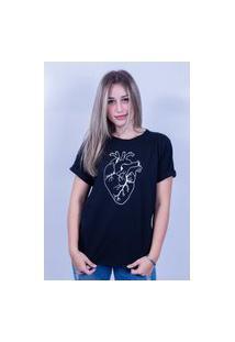 Camiseta Bilhan Corte A Fio Coração Gde Preta