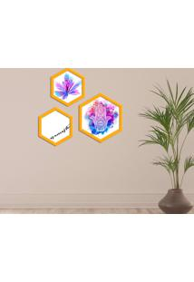 Kit 3 Quadros Com Moldura Hexagonal Namaste
