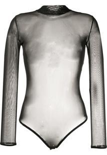Alchemy Body Translúcido Com Gola Alta Ampla - Preto
