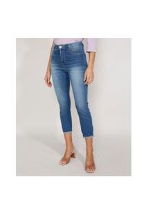 Calça Jeans Feminina Cintura Alta Sawary Cropped Heart Super Lipo Com Barra Dobrada Azul Médio