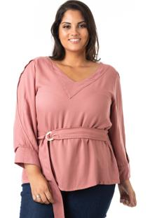 Blusa Plus Size - Confidencial Extra Em Crepe Com Cinto Plus Size