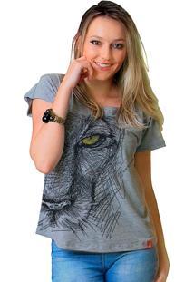 Camiseta Wevans Feline Look Cinza