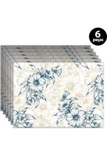 Jogo Americano Mdecore Floral 40X28Cm Branco 6Pçs