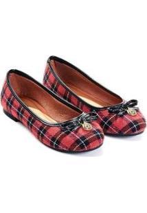 Sapatilha Mizzi Shoes Scotland Tecido Xadrez Bico Redondo Feminina - Feminino-Vermelho