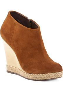 Ankle Boot Anabela Em Couro- Marrom Claro & Bege Claro