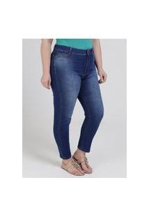 Calça Jeans Skinny Sawary Plus Size Feminina Azul
