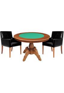 Mesa De Jogos Carteado Redonda Montreal Tampo Reversível Amêndoa Com 2 Cadeiras Liverpool Corino Preto Liso - Gran Belo