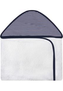 Toalha De Banho Laura Baby C/Capuz Estampada Náutico Azul Marinho