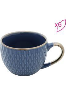 Jogo De Xícaras Para Café Em Porcelana- Azul- 6Pçs