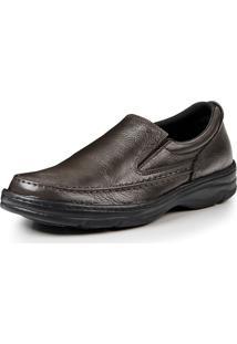 Sapato Social Couro Bergally Ortopédico Elástico Marrom