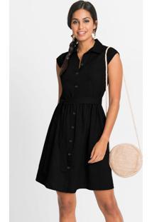 Vestido Chemise Com Faixa Preto