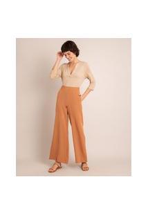Calça Wide Pantalona Alfaiataria Cintura Super Alta Caramelo