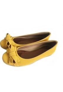 Sapatilha Likka Calçados Bico Redondo Amarelo