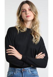 Suéter Feminino Básico Cropped Em Tricô Decote Redondo Preto