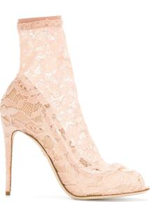 Dolce & Gabbana Ankle Boot Com Renda - Neutro