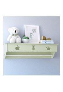 Prateleira Mdf Verde Quarto Bebê Varáo Realeza Gráo De Gente Verde