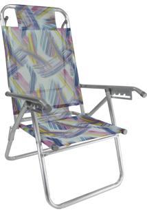 Cadeira Praia Reclinável Zaka Infinita Up Alumínio Até 120 Kg Aquarela
