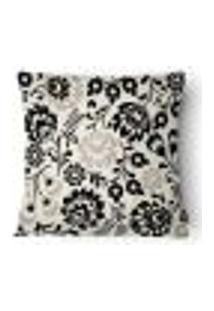 Capa Para Almofada Flores Veludo 43X43Cm Branco,Preto,Bege