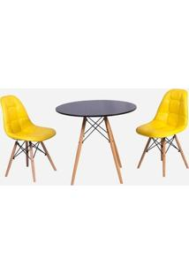 Conjunto Mesa Eiffel Preta 120Cm + 2 Cadeiras Dkr Charles Eames Wood Estofada Botonê - Amarela