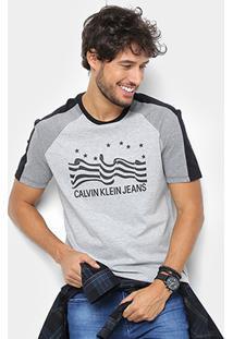 Camiseta Calvin Klein Bandeira E Logo Masculina - Masculino