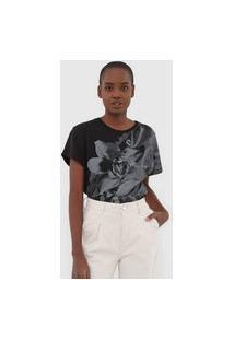 Blusa Calvin Klein Jeans Flor Preta